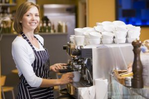 Happy Coffee Shop Owner